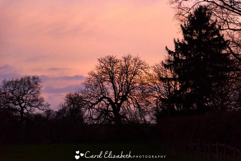 Sunset at Nether Winchendon House wedding