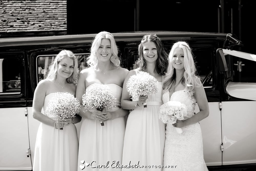 Bride with bridesmaids before ceremony