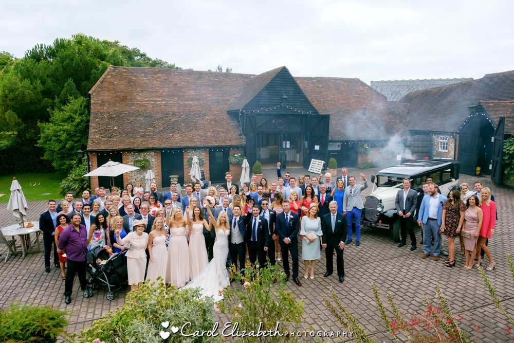 Wedding at Old Luxters Barn - all guests photo
