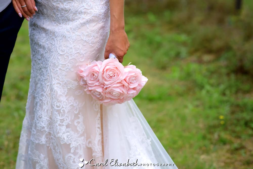 Pink roses silk wedding flowers