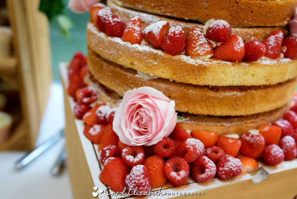 Naked wedding cake - strawberry and sponge