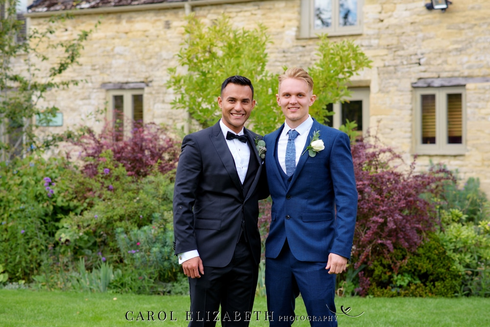 Groom and best man Hugo Boss suits