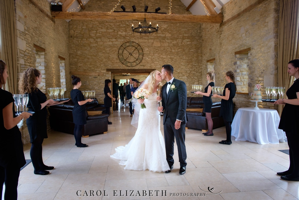 Caswell House wedding reception with champagne
