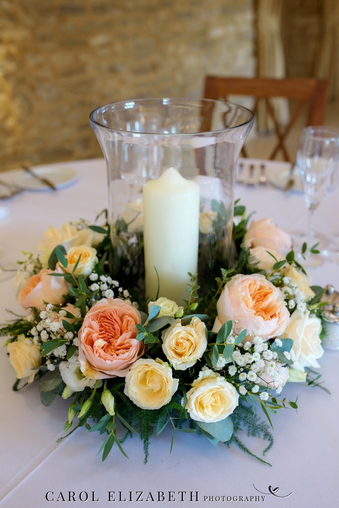 Classic Flowers Witney table flowers at Caswell House