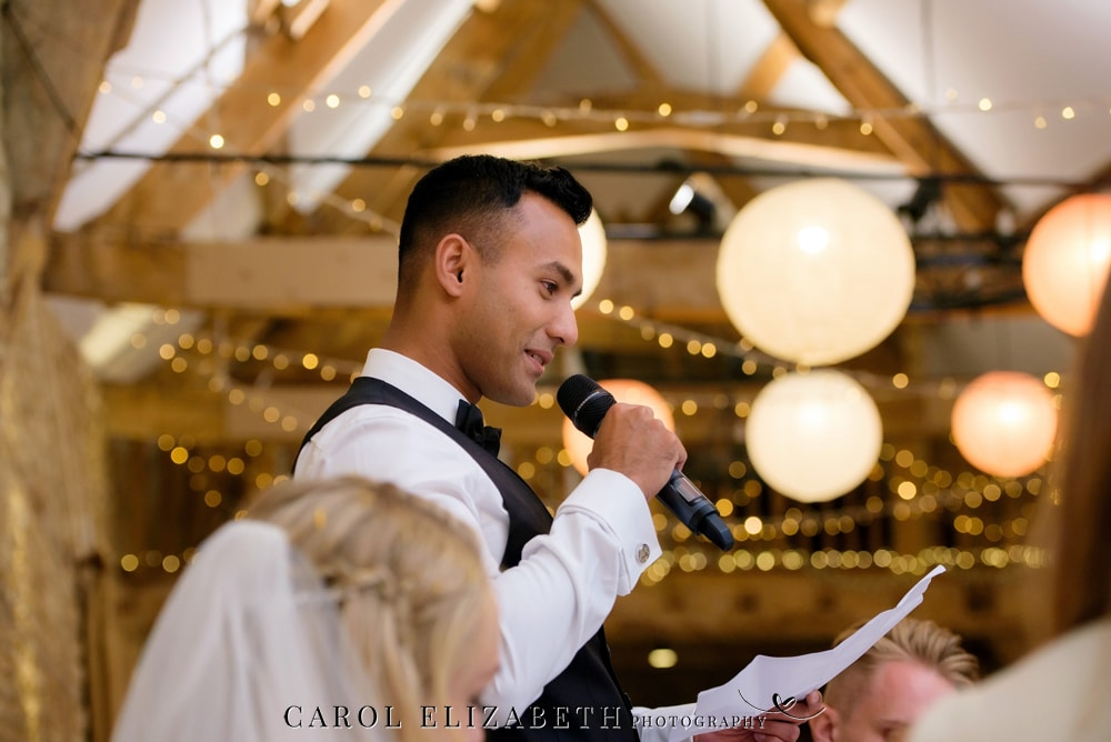 Groom speech at Caswell House with fairy lights