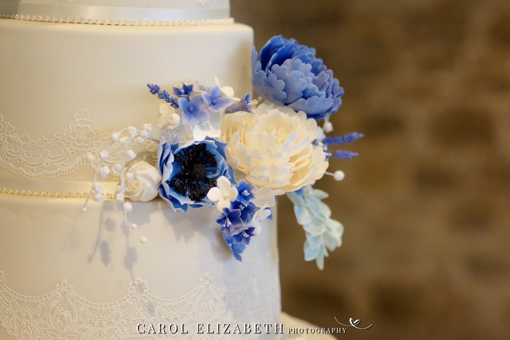 Gracious Cakes wedding cake with blue flowers