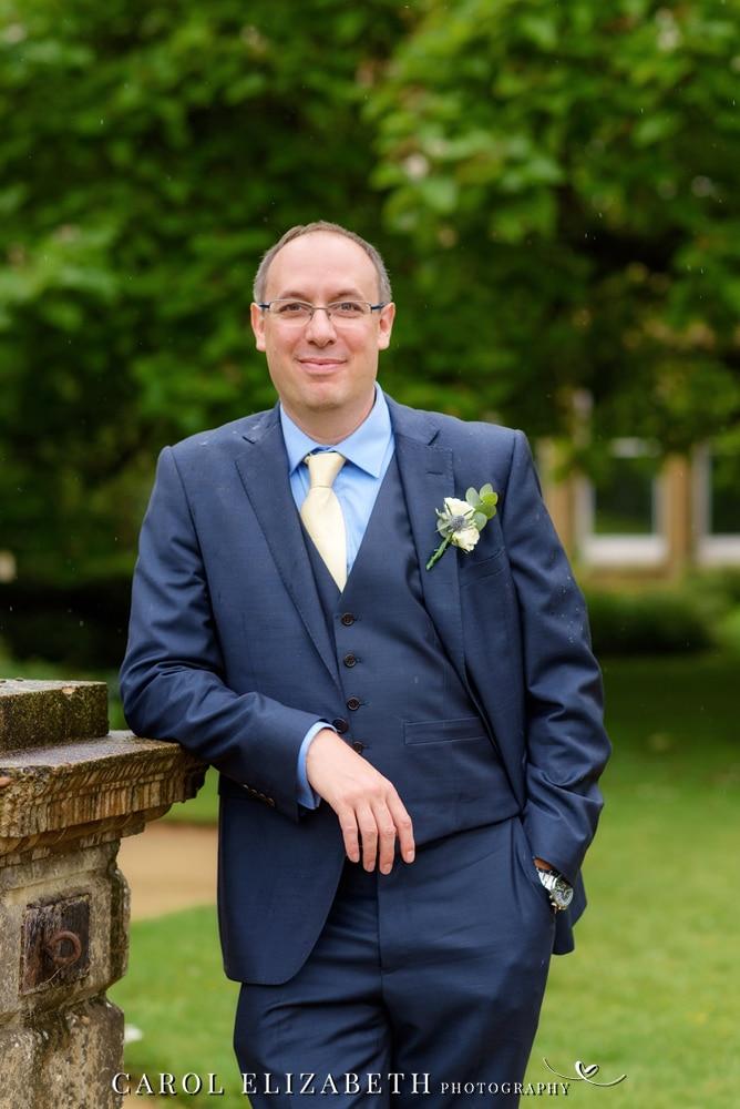 Groom at Abingdon wedding