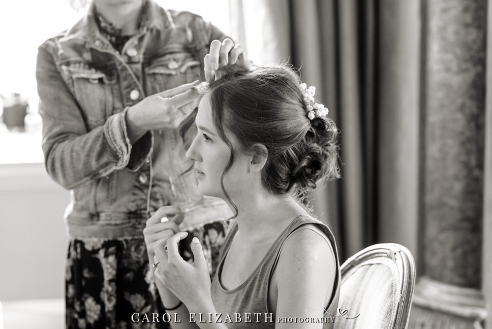 Bridal preparations in the bridal suite at Kirtlington Park