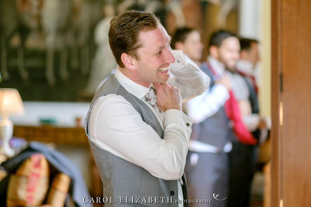 Groom preparations at Kirtlington Park wedding