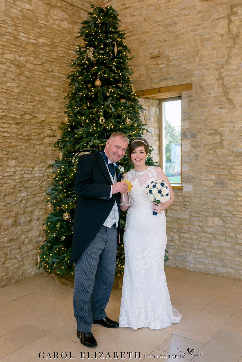 Christmas wedding photography at Caswell House in Oxfordshire