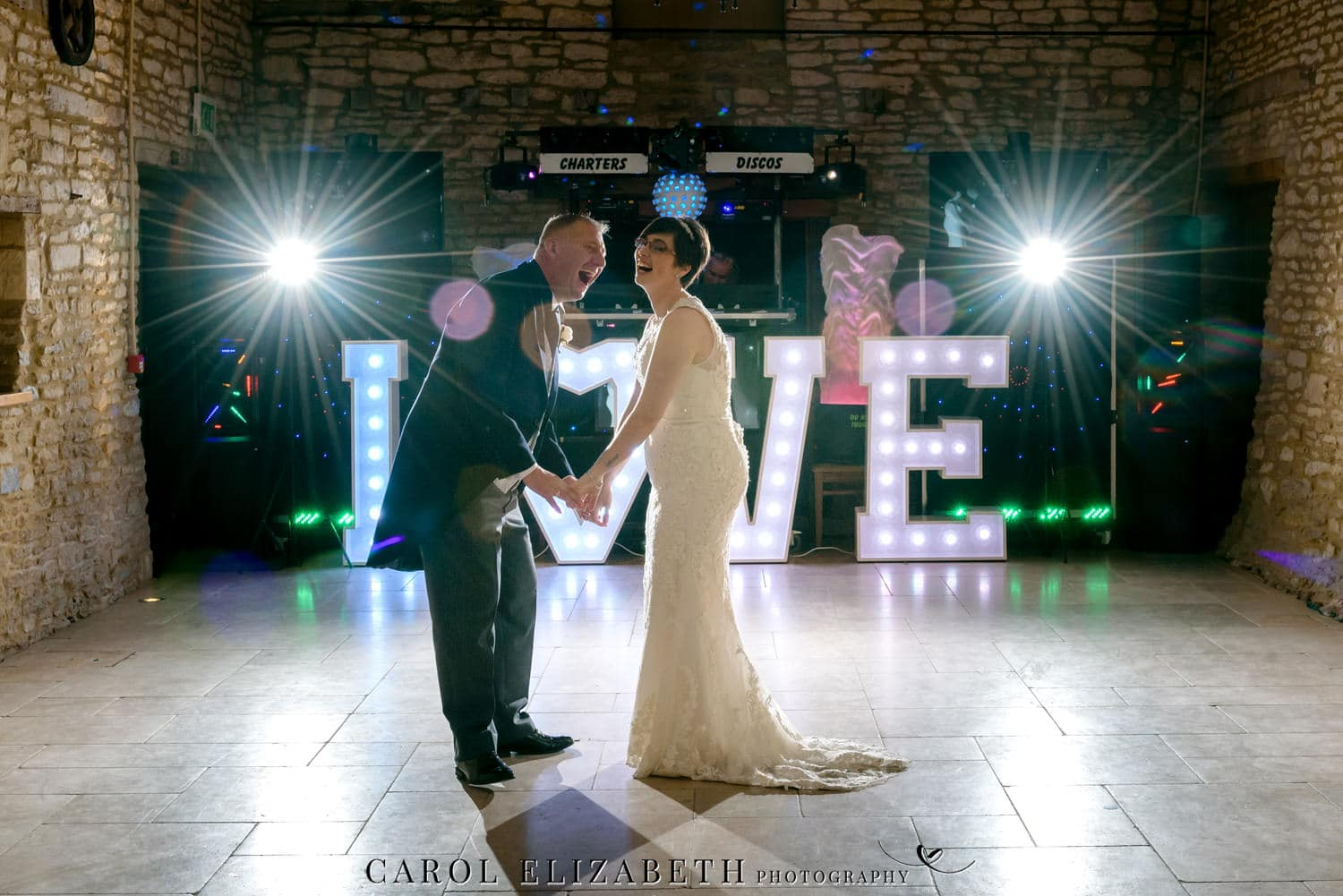 Professional Caswell House wedding photography - evening disco
