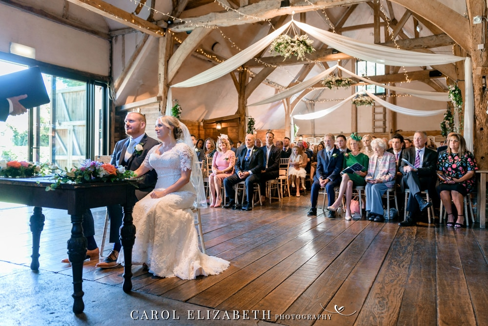Lains Barn wedding ceremony photography in Oxford