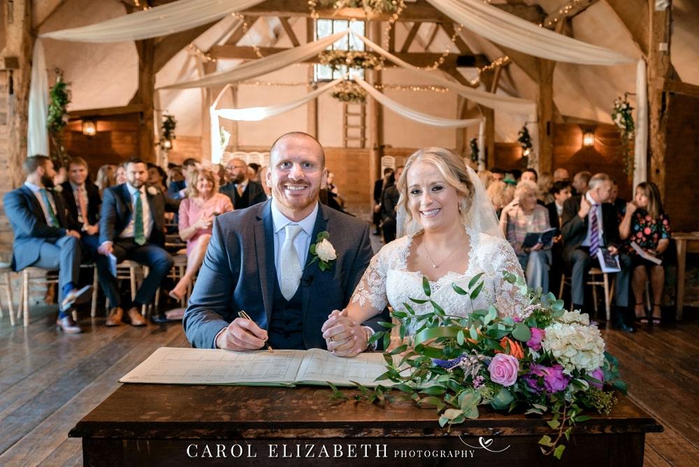 Wedding ceremonies at Lains Barn wedding venue