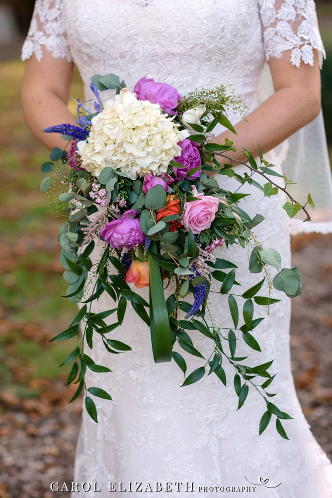 Wedding bouquet of flowers and greenery
