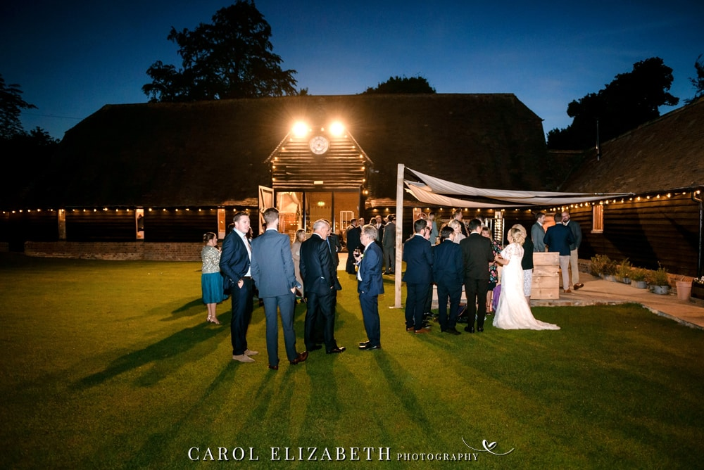 Lains Barn wedding photography evening photo of the barn