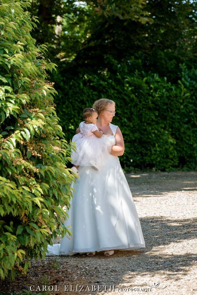 Steventon House wedding photographer - bride and daughter