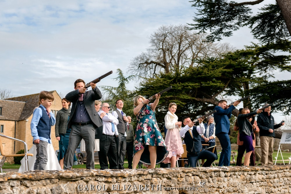 Laser Clay shooting at wedding by Laserclayz