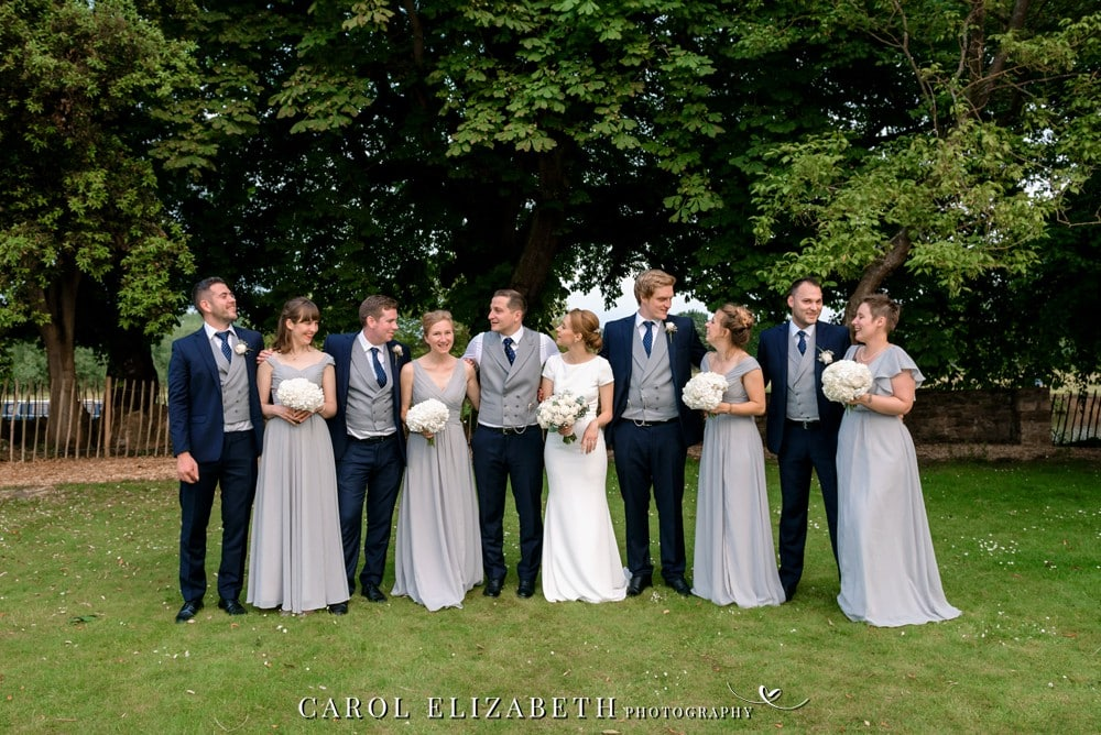 Bridal party on the lawn at Coseners House wedding