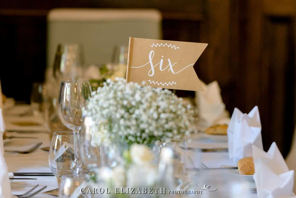 Wedding reception room table name