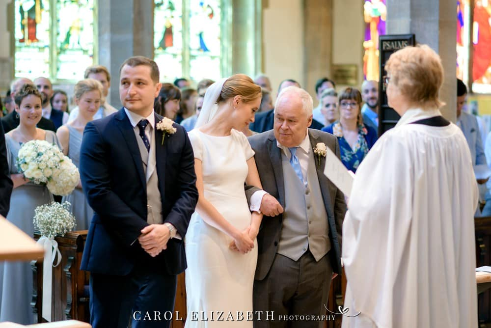 Church wedding ceremony at St Helens Church in Oxfordshire
